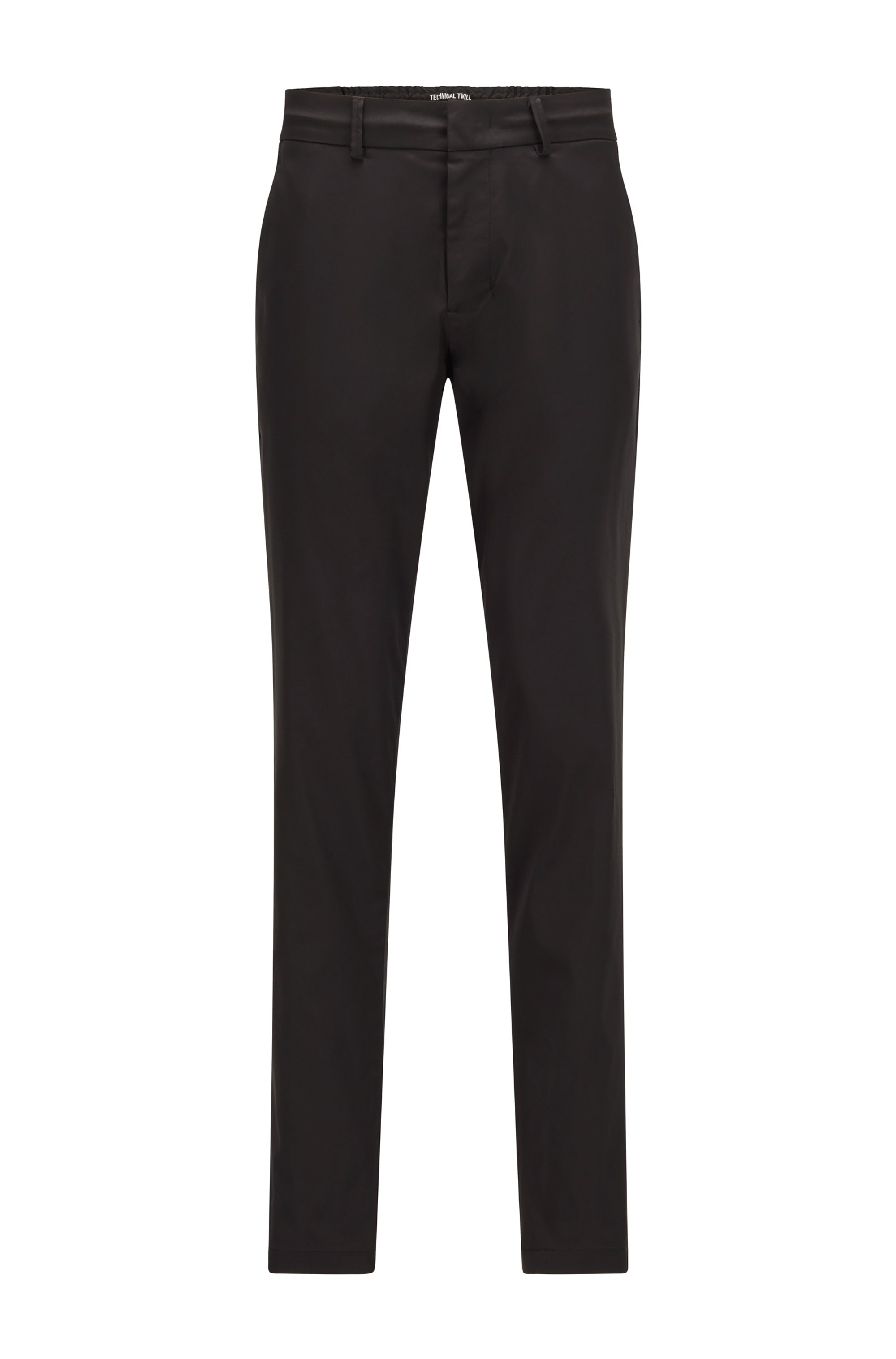 Slim-fit trousers in water-repellent technical twill, Black