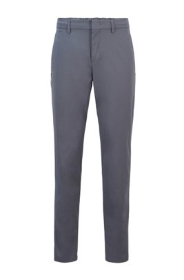 Slim-fit trousers in water-repellent technical twill, Dark Grey