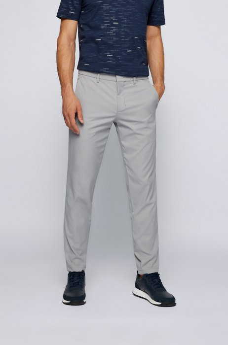 Slim-fit trousers in water-repellent technical twill, Grey