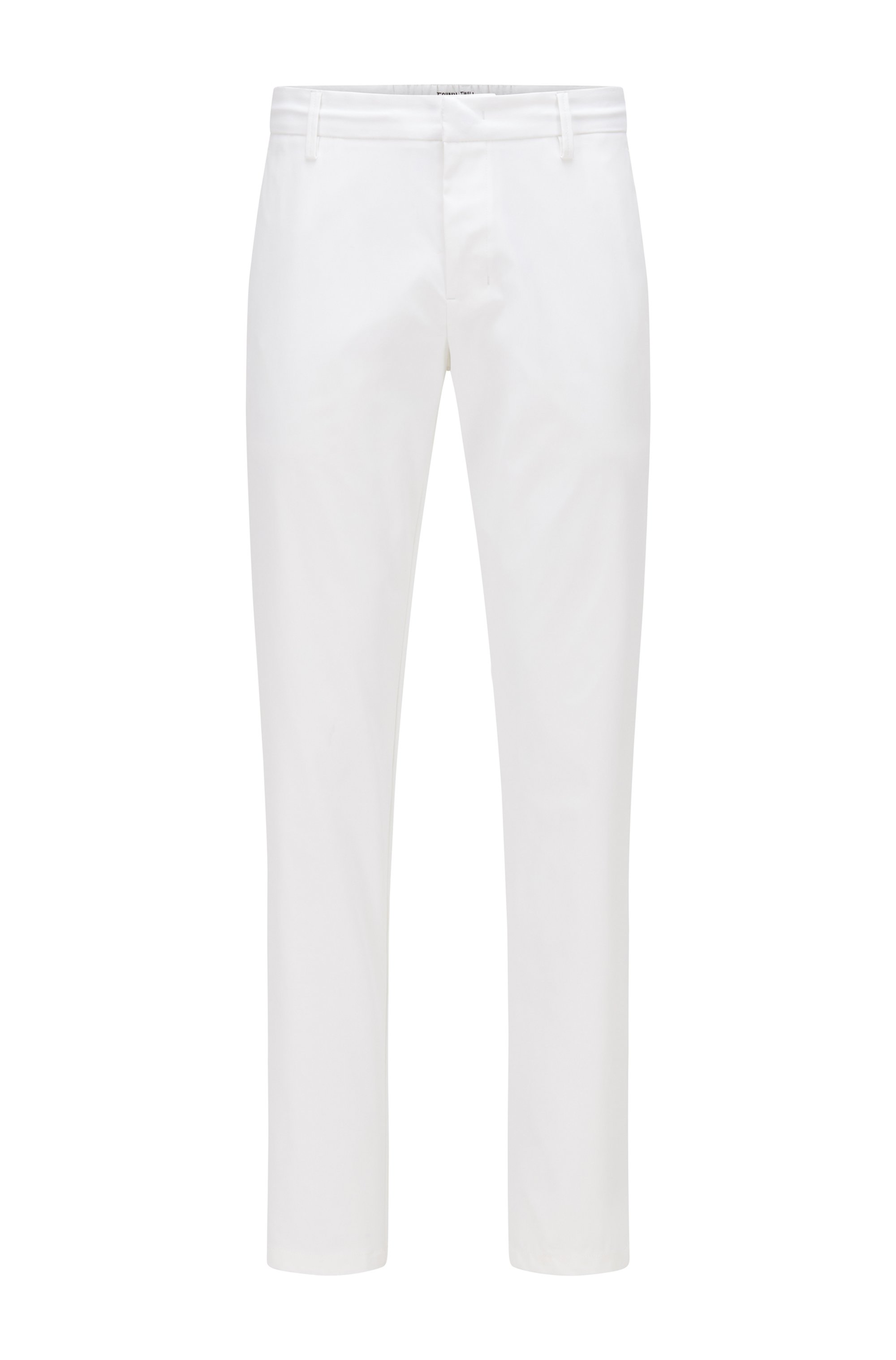 Slim-fit trousers in water-repellent technical twill, White