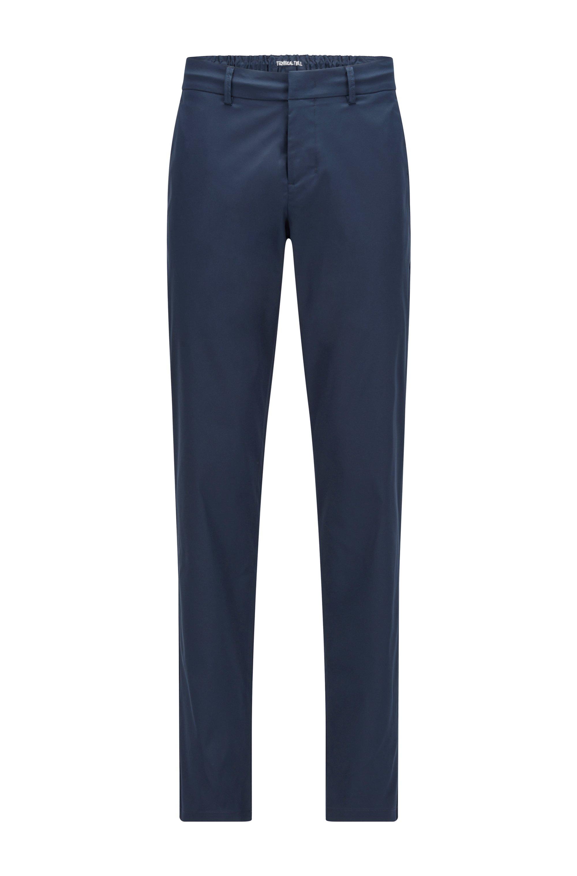 Slim-fit broek van waterafstotende technische twill, Donkerblauw