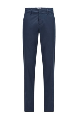Slim-fit trousers in water-repellent technical twill, Dark Blue