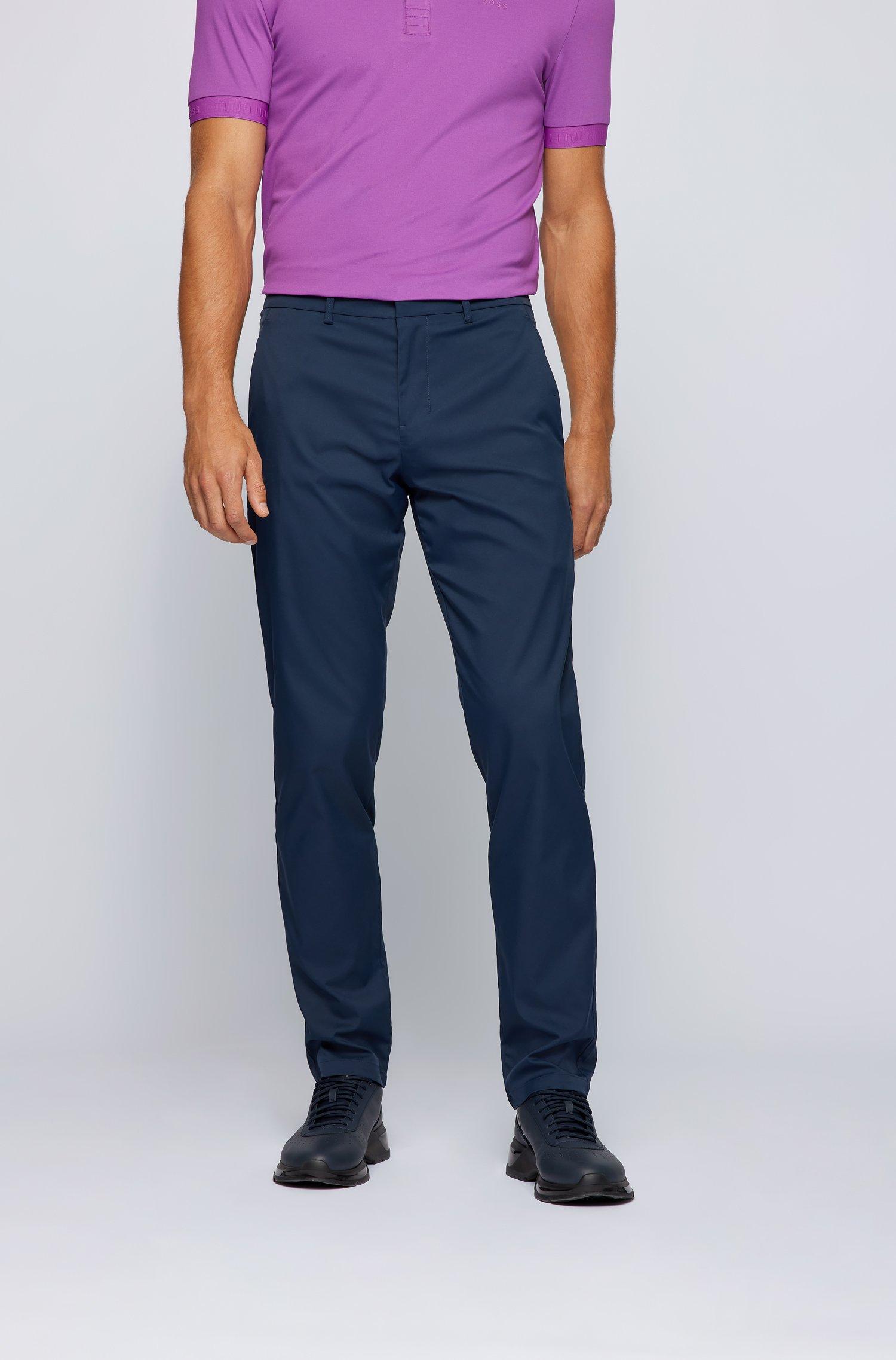 Pantaloni slim fit in twill tecnico idrorepellente, Blu scuro