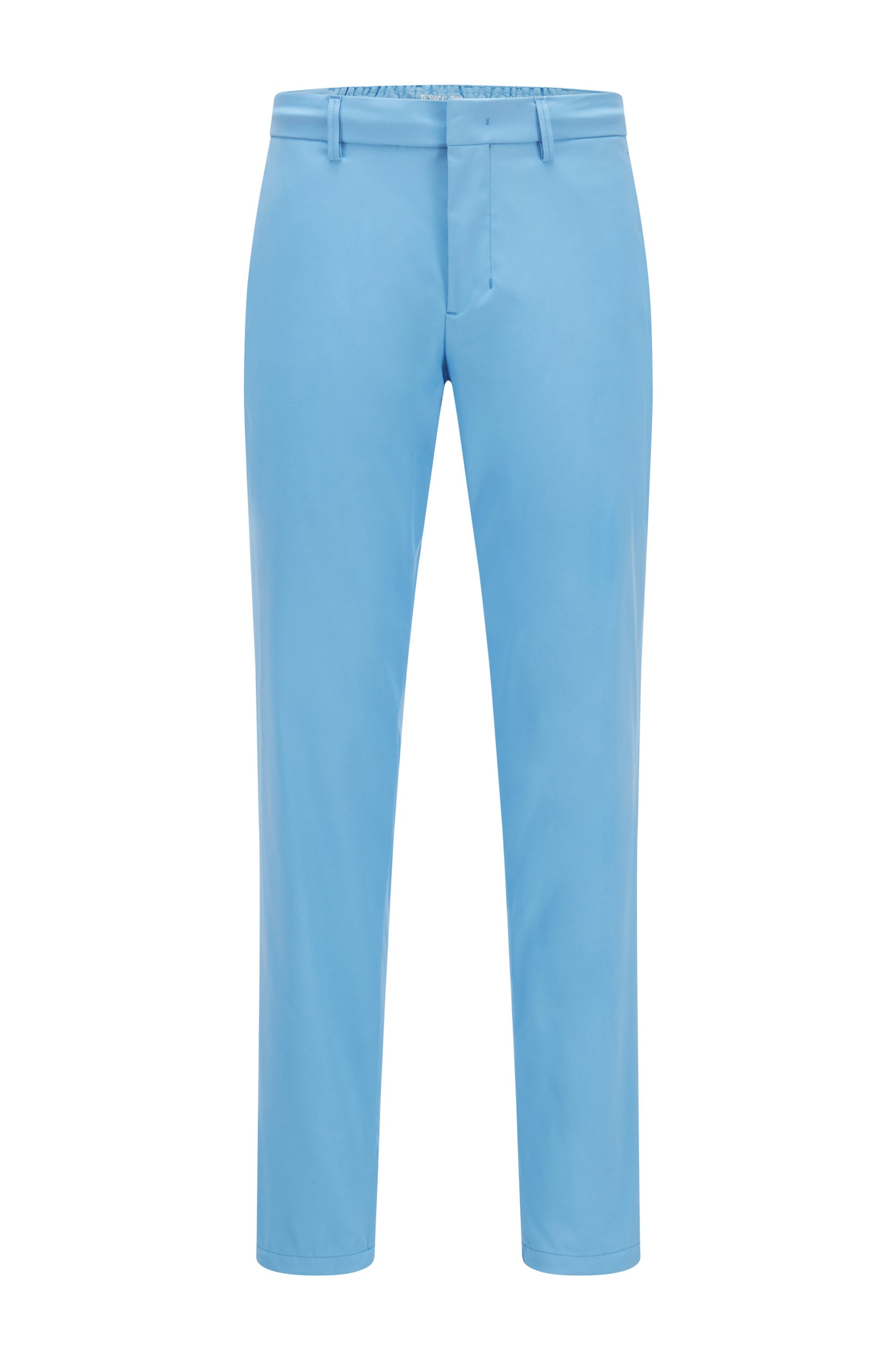 Slim-fit trousers in water-repellent technical twill, Blue
