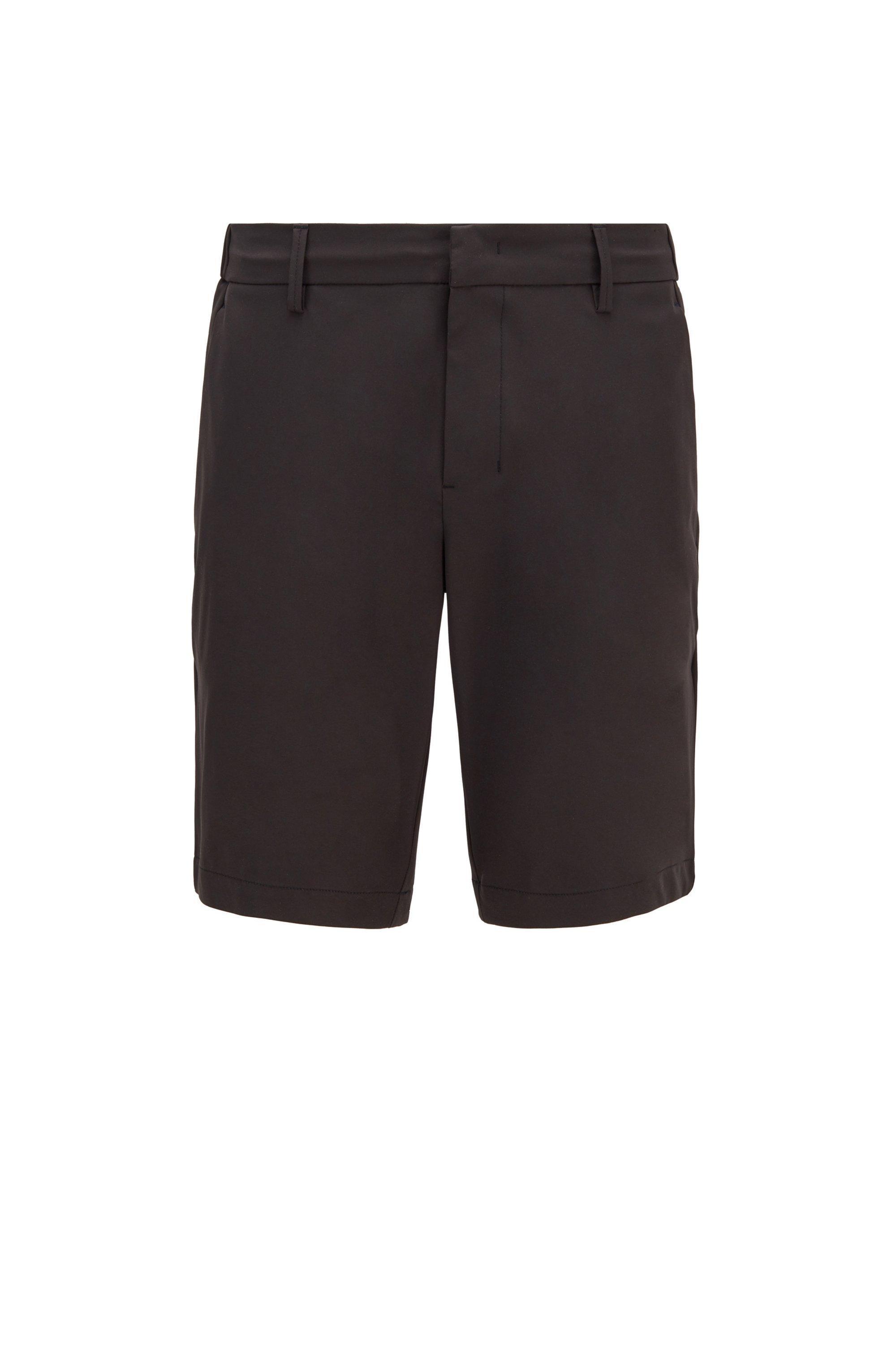 Short Slim Fit en tissu technique déperlant, Noir