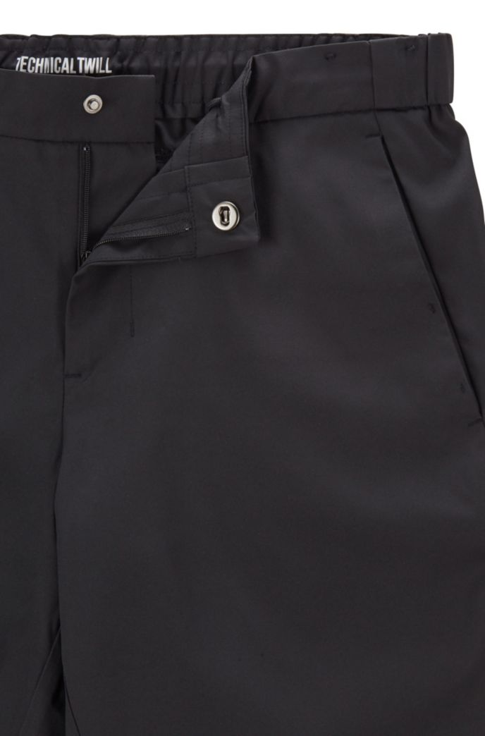 Slim-fit shorts in water-repellent technical twill