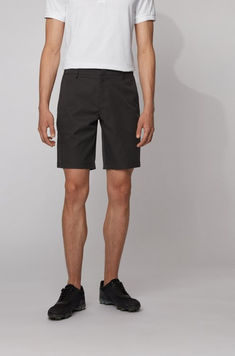 Slim-fit shorts in water-repellent technical twill, Black