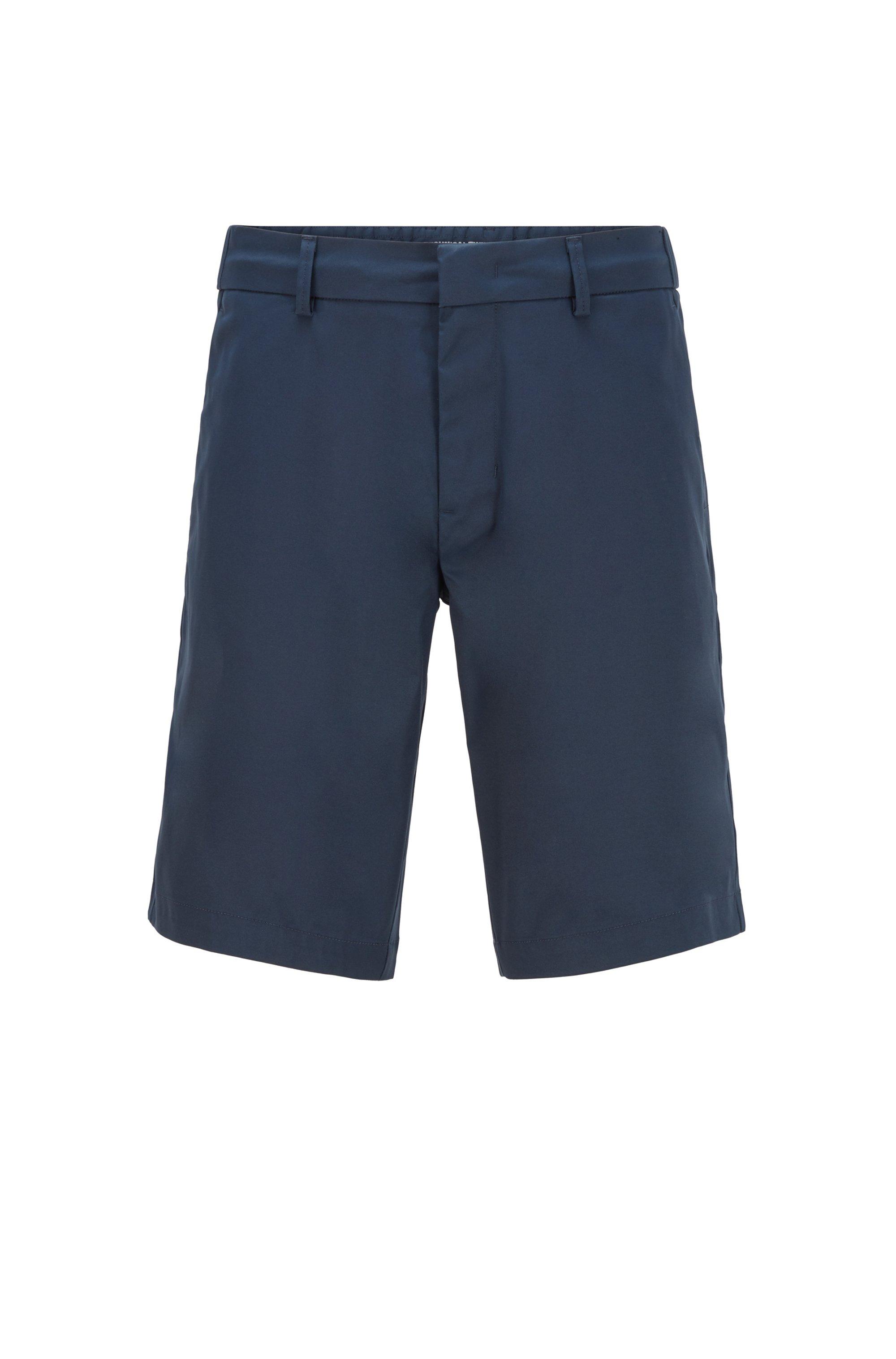 Slim-Fit Shorts aus wasserabweisendem Funktionstwill, Dunkelblau