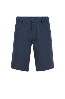 Short Slim Fit en tissu technique déperlant, Bleu foncé