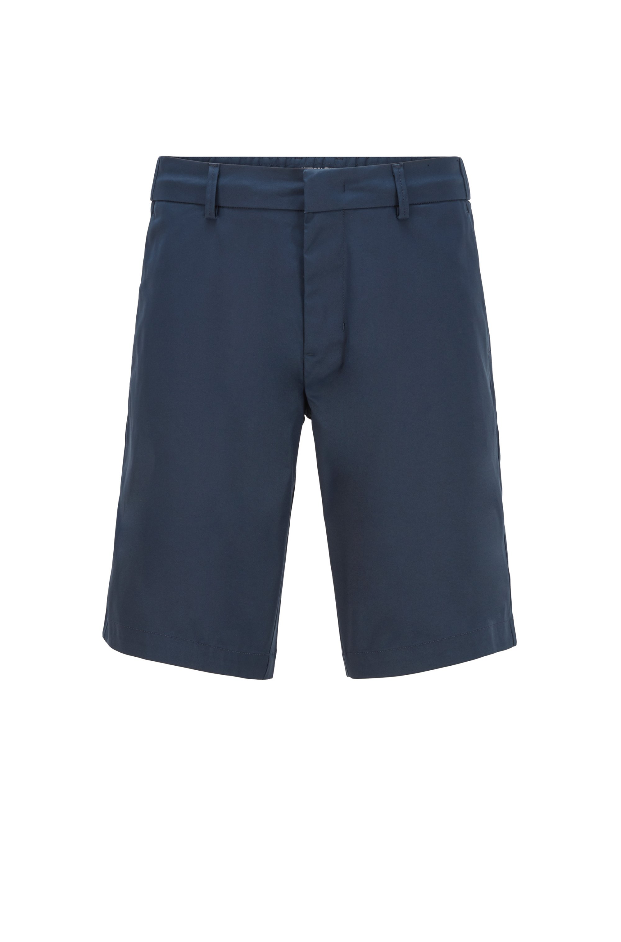 Slim-fit shorts in water-repellent technical twill, Dark Blue