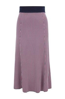Gonna a motivi geometrici in jacquard lavorato a maglia con vita a contrasto, A disegni