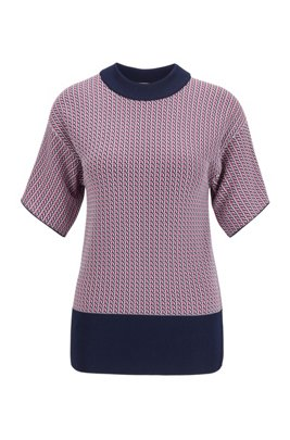 Short-sleeved sweater in geometric-patterned knitted jacquard, Patterned