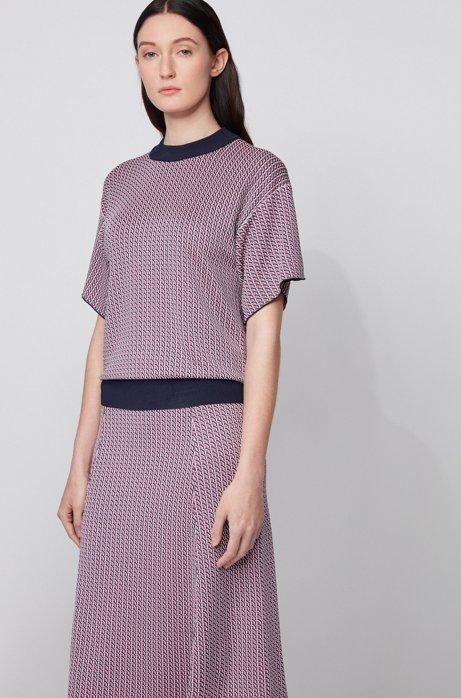 Jacquardgebreide trui met geometrisch dessin en korte mouwen, Bedrukt