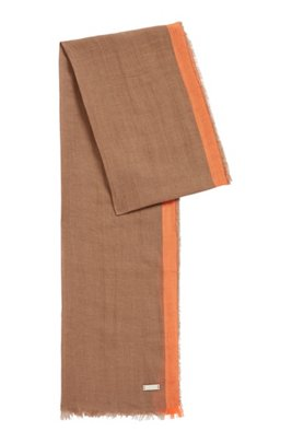 Striped scarf in linen and silk with fringed hem, Dark Brown