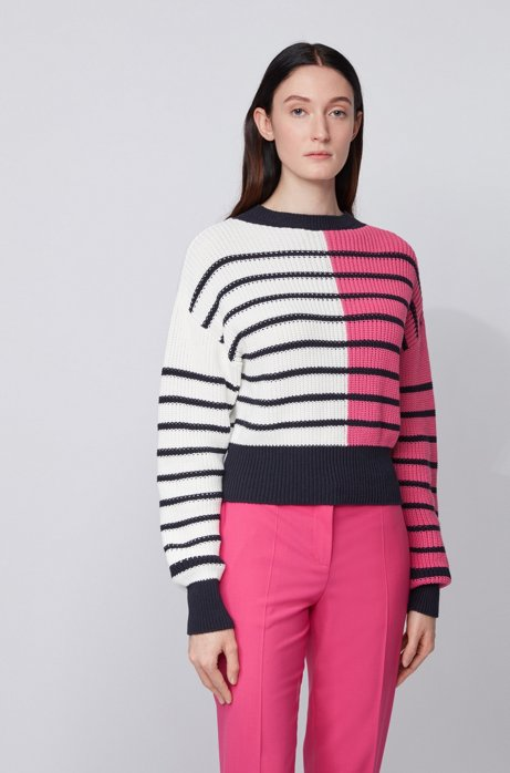 Relaxed-fit sweater with colour-blocking and stripes, Patterned