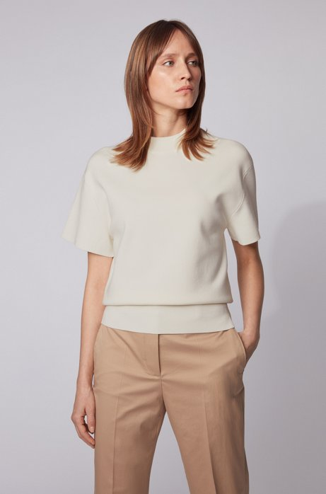 Short-sleeved sweater with dropped shoulders, White