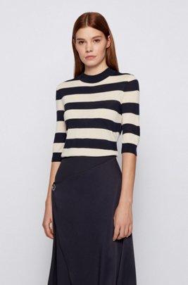 Slim-fit striped sweater in virgin wool, Patterned
