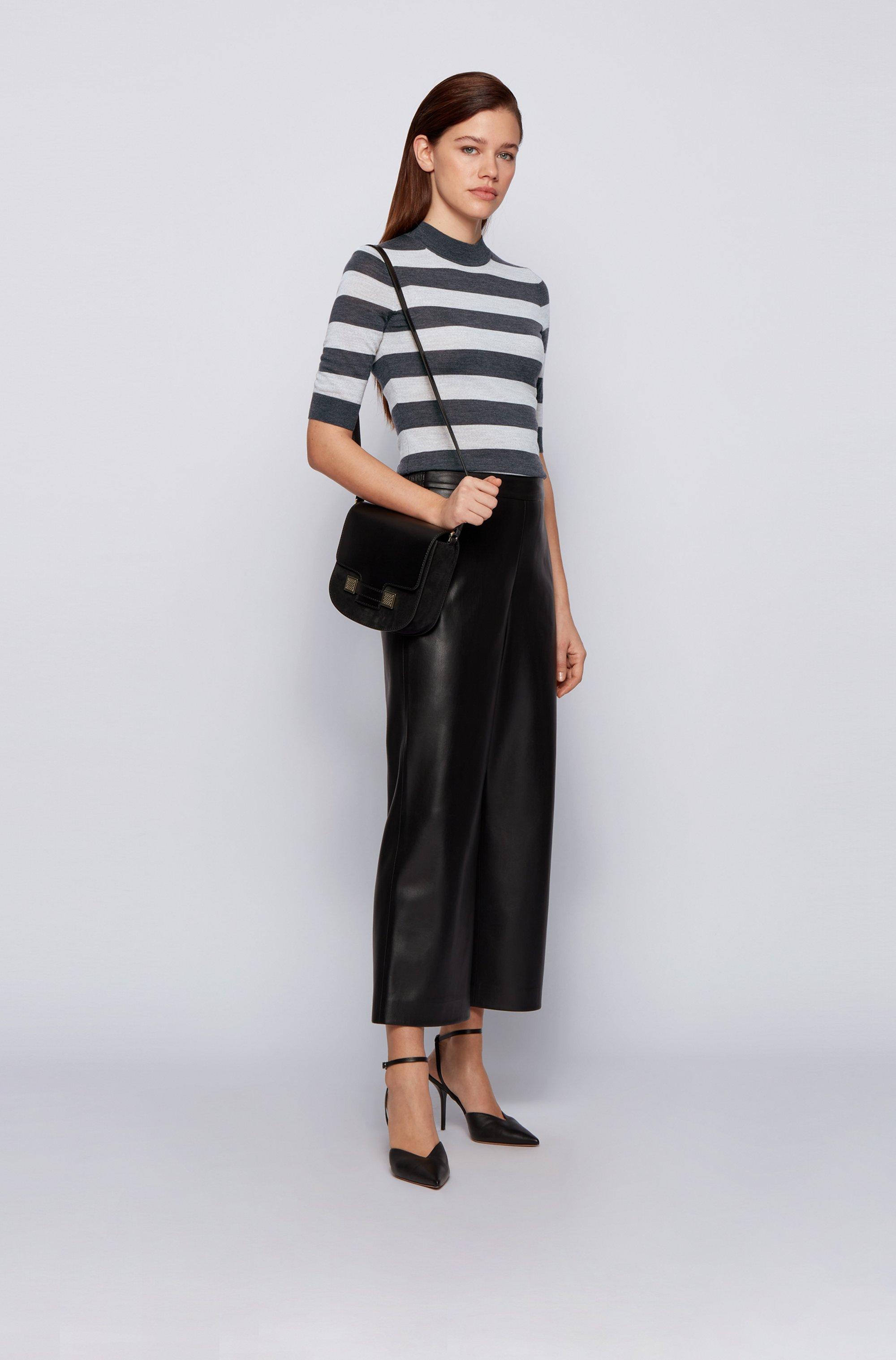 Slim-fit striped sweater in virgin wool