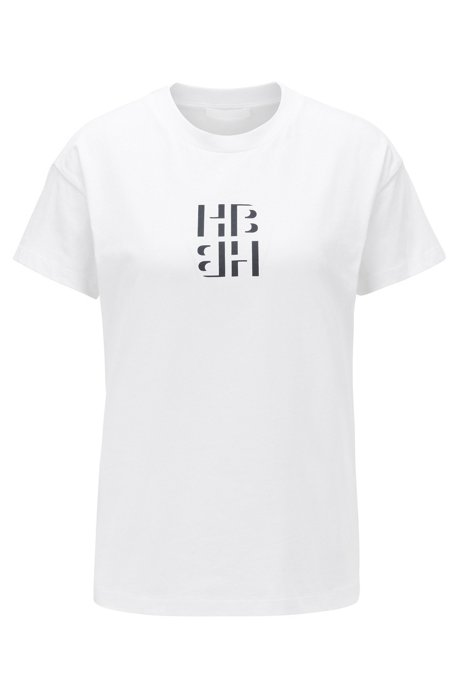Regular-fit monogram top in recycled cotton, White