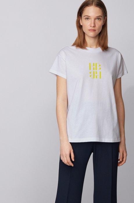 Top Regular Fit en coton recyclé avec monogramme, Blanc