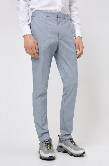 Extra-slim-fit trousers in two-tone birdseye stretch cotton, Light Blue