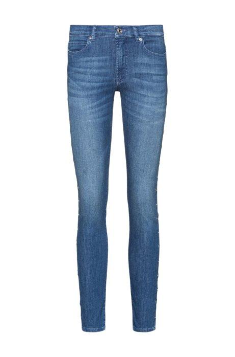CHARLIE Super Skinny-Fit Jeans mit Ringnieten an den Seitennähten, Dunkelblau
