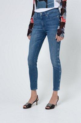 CHARLIE super-skinny-fit jeans with ring-stud side seams, Dark Blue