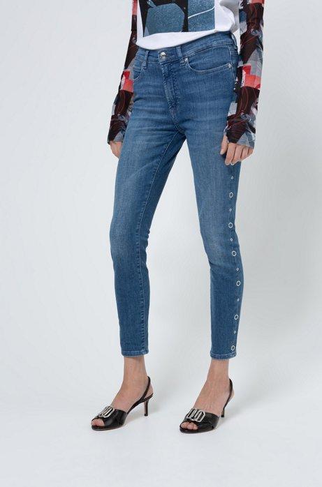CHARLIE super skinny-fit jeans met zijnaden met ringstuds, Donkerblauw