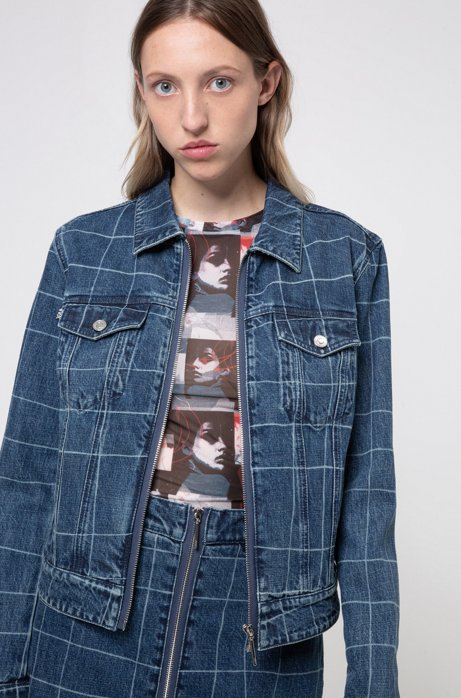 Relaxed-fit denim jacket with check pattern, Dark Blue