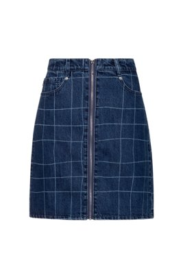 A-line zip-front denim skirt with check pattern, Dark Blue