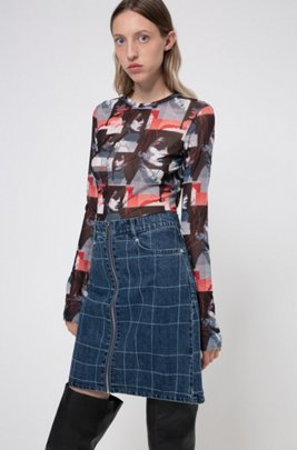 A-line zip-front denim skirt with check pattern, ダークブルー