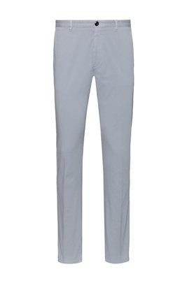 Pantalones slim fit de algodón elástico con microestructura, Gris claro