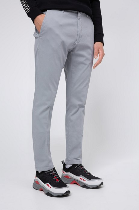 Slim-fit trousers in micro-structured stretch cotton, Light Grey