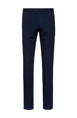 Slim-Fit Hose aus fein strukturierter Stretch-Baumwolle, Dunkelblau
