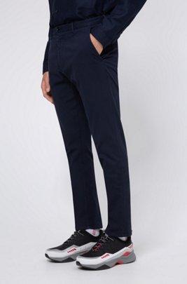 Pantalones slim fit de algodón elástico con microestructura, Azul oscuro