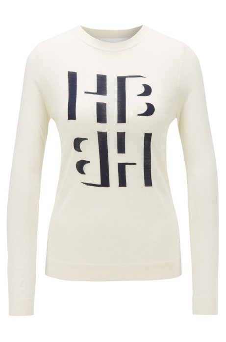 Slim-fit sweater with monogram intarsia in merino wool, Natural