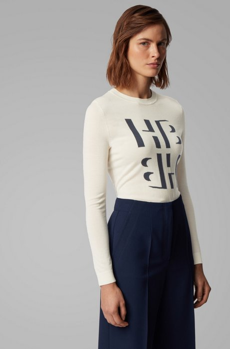 Slim-fit trui van merinowol met intarsia-monogram, Naturel