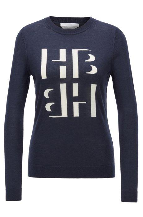 Jersey slim fit de lana merina con las iniciales en intarsia, Azul oscuro