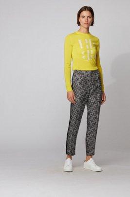 Slim-fit sweater with monogram intarsia in merino wool, Yellow
