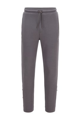 Jogging trousers in stretch fabric with press-stud hems, Dark Grey