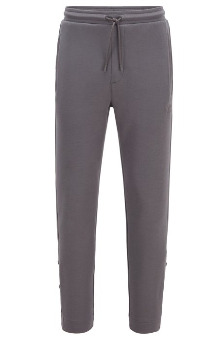 Jogging trousers in stretch fabric with press-stud hems, Anthracite