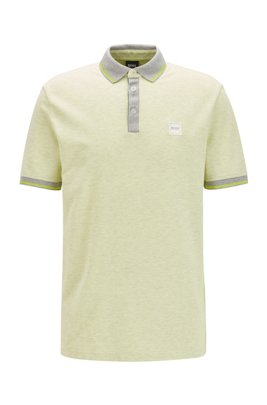 Regular-fit polo shirt in multi-tone cotton piqué, Light Beige