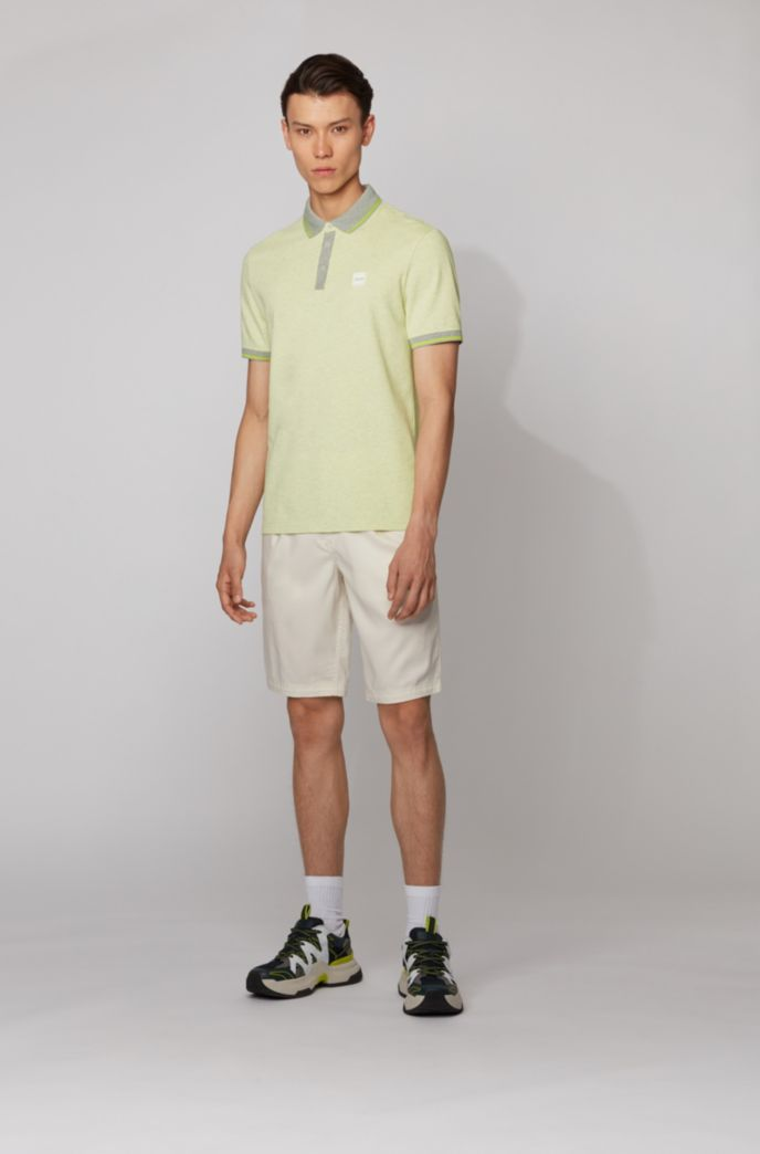 Regular-fit polo shirt in multi-tone cotton piqué