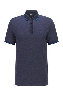 Polo regular fit de piqué de algodón de varios colores , Azul oscuro