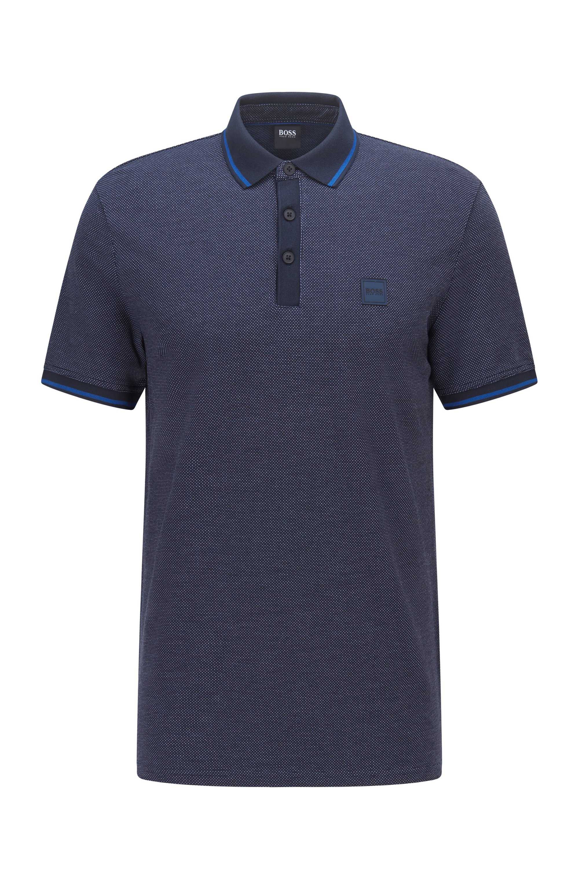 Regular-fit polo shirt in multi-tone cotton piqué, Dark Blue