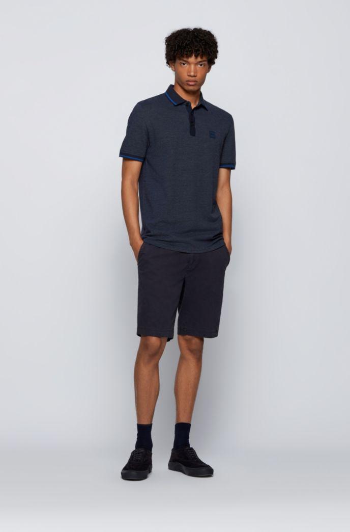 Regular-fit polo shirt in multicoloured cotton piqué