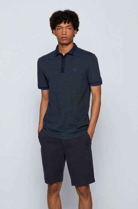 Regular-fit polo shirt in multicoloured cotton piqué , Dark Blue