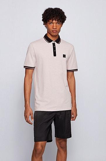 拼色棉质珠地布常规版型 Polo 衫,  689_Light/Pastel Pink