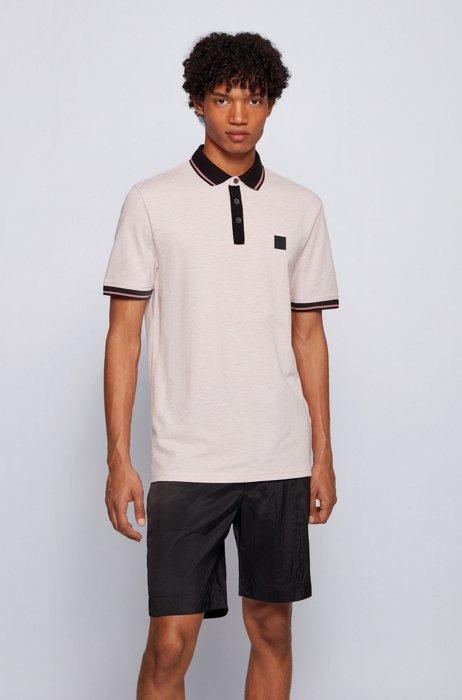 Regular-fit polo shirt in multi-tone cotton piqué, light pink