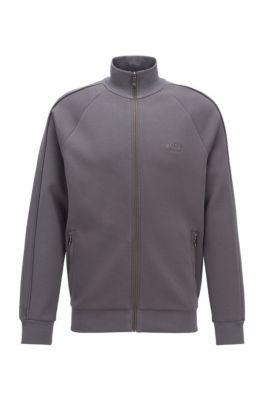 Sweater met ritssluiting en piqué-decoraties, Donkergrijs